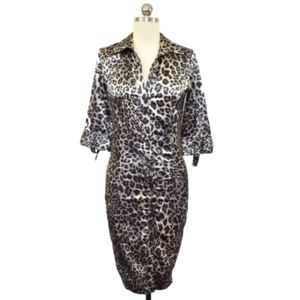 Zara Basic Womens Brown Leopard Print Dress Small